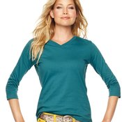 Ladies' V-Neck T-Shirt with Three-Quarter Sleeves